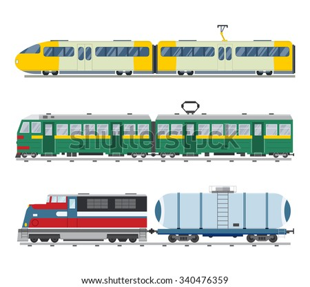 Modern and vintage trains vector collection. Trains vector illustration on white background. Trains icons or silhouette isolated on white. Old and modern trains vector on railway. Travel by trains - stock vector