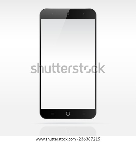 Modern android touchscreen cellphone tablet smartphone phablet isolated on light background.  Empty screen - stock vector