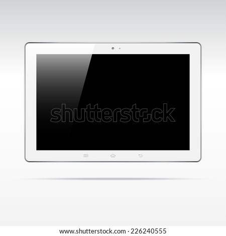 Modern android white touchscreen tablet computer isolated on light background. Blank screen - stock vector