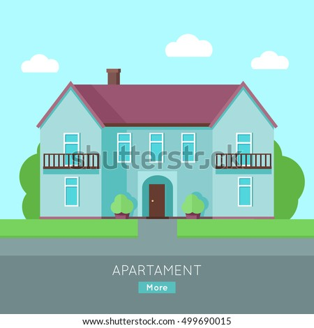 blue house with purple roof home house in flat design style - Blue House Design