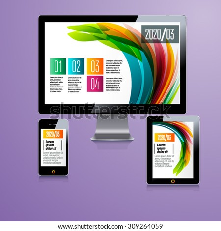 Modern application template design for corporate identity with statistics and infographics. ?omputer tablet and phone set. - stock vector
