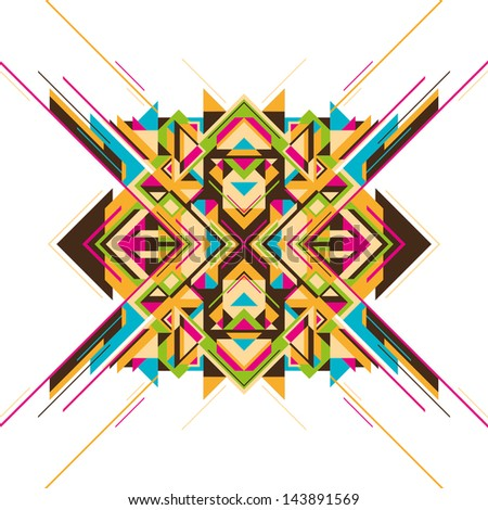 Modern arabesque with geometric shapes.Vector illustration. - stock vector