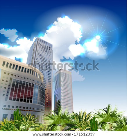 Modern arkhitecture illustration - stock vector