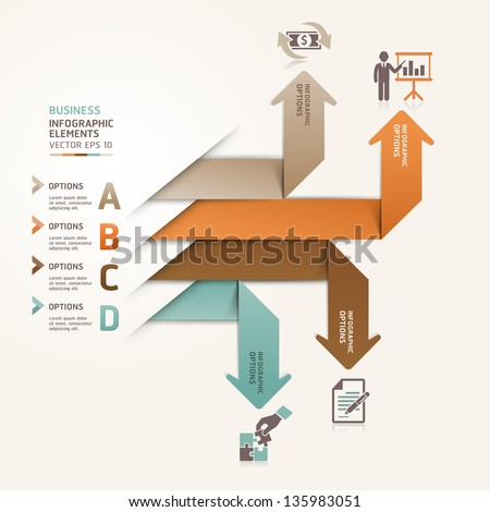 Modern arrow business steb options banner. Vector illustration. can be used for workflow layout, diagram, number options, step up options, web template, infographics. - stock vector