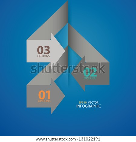 Modern Arrow Design template. Can be used for infographics, numbered banners, horizontal cutout lines, graphic or website layout vector. - stock vector