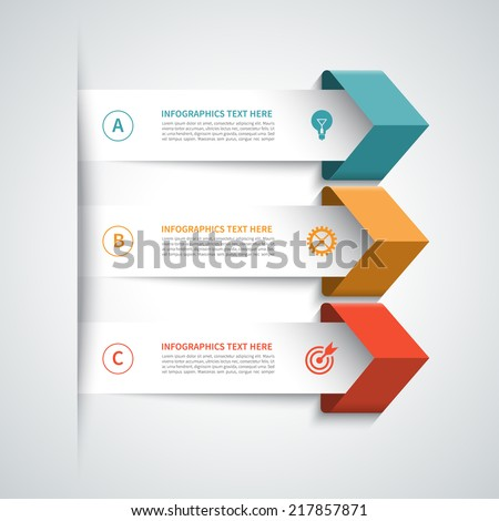 Modern arrow infographics elements. Origami style. Vector illustration. Can be used for workflow layout, diagram, number and step up options, web design. - stock vector
