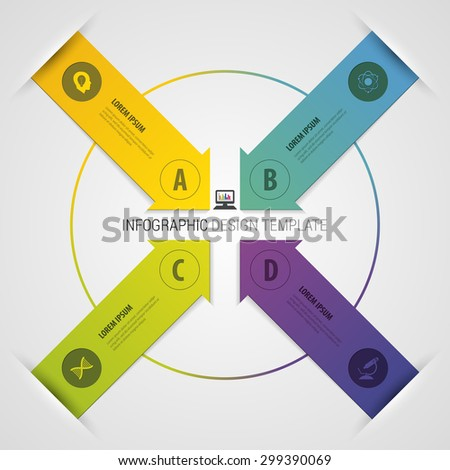 Modern arrow origami style number options banner. Vector illustration - stock vector