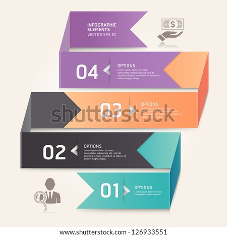 Modern arrow origami style number options banner. Vector illustration. can be used for workflow layout, diagram, web design, infographics. - stock vector