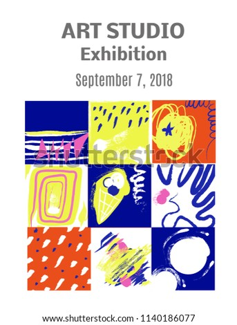 Modern art paintings exhibition invitation design stock vector modern art paintings exhibition invitation design with pictures and text layout vector graphic illustration stopboris Image collections