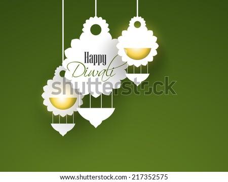 modern artistic glowing kandil for Diwali festival. - stock vector