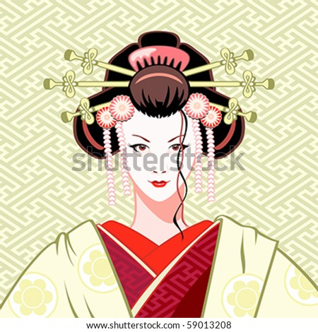 Modern attractive geisha portrait in green-red colors - stock vector