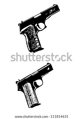 Modern automatic hand gun vector pistols, black isolated on white background - vector illustration image - stock vector