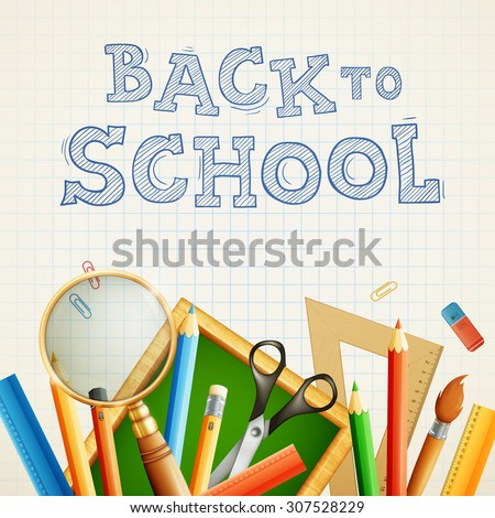 Modern back to school vector background. eps10 illustration - stock vector