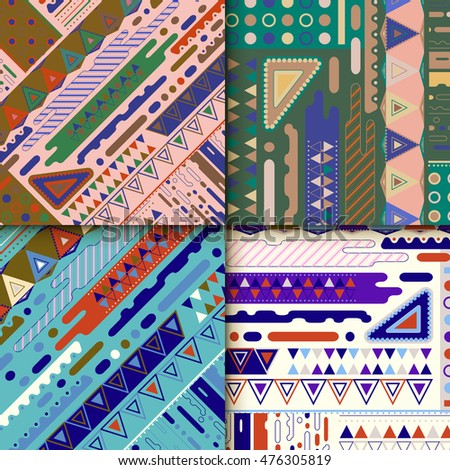 Modern background pattern design set with colorful geometric elements
