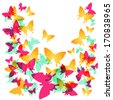 Modern background with colorful butterflies. EPS10 vector file organzed in groups. - stock vector