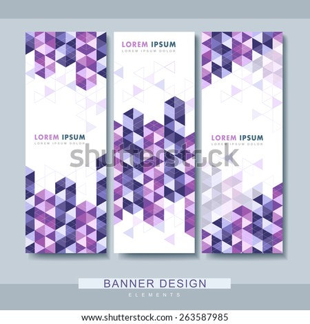 modern banner set template design with purple triangle elements - stock vector
