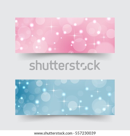 Modern banners with abstract circles and stars.