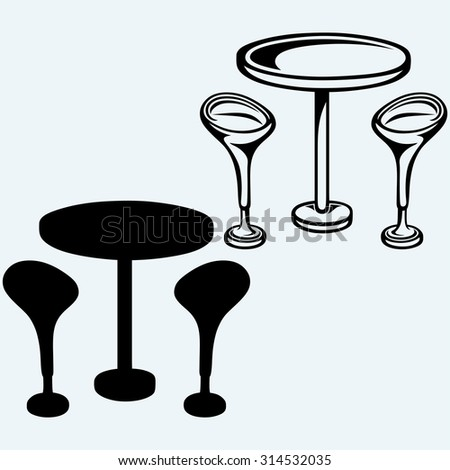 Modern bar table with two chairs. Isolated on blue background