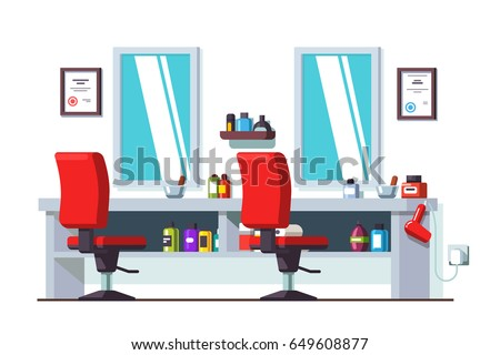 Modern Barber Shop Interior Design Chairs Stock Vector 649608877 ...