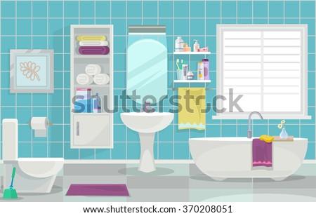 Modern bathroom interior. Vector flat illustration - stock vector