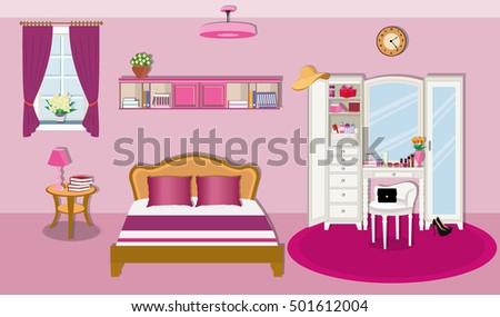 Modern Bedroom Interior Design Furniture Window Stock Vector ...
