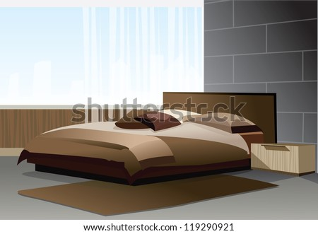 Modern bedroom with views of the city - stock vector