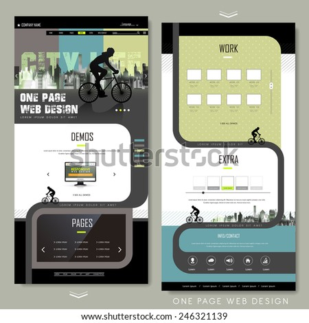modern bicycle sport one page website design template - stock vector