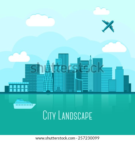 Modern big city landscape with reflection in water. With airplane and yacht. Vector - stock vector