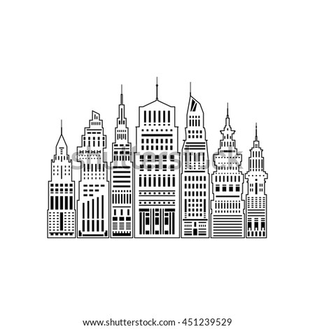 Modern Big City with Buildings and Skyscraper, Architecture Megapolis, City Financial Center Isolated on White Background, Line Style Design, Black and White Vector Illustration  - stock vector