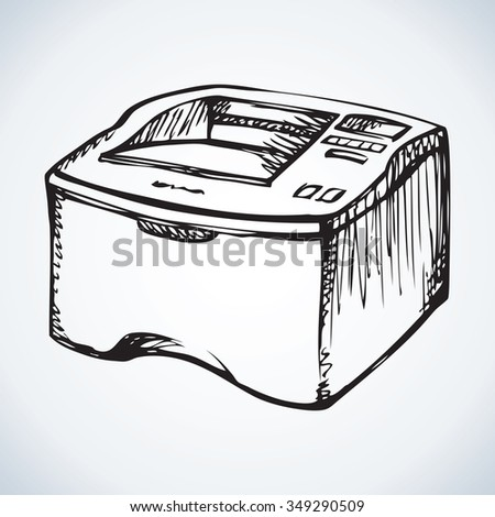 Modern big home digital quality multifunction pc color toner plotter isolated on white backdrop. Freehand outline ink pen drawn picture icon sketch in scribble style. Close-up view with space for text - stock vector