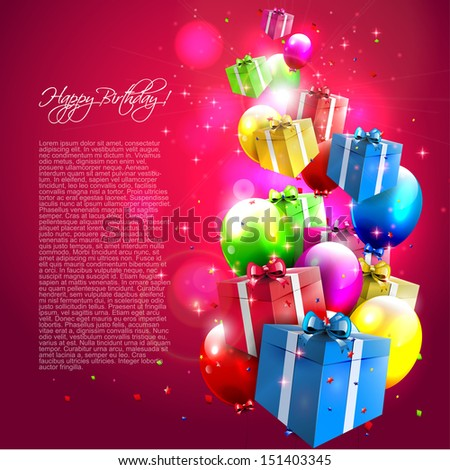 Modern birthday background with colorful balloons and gifts - stock vector