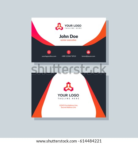 Modern Black And Orange Business Card Template In Flat Design Abstract Background Personal Plain