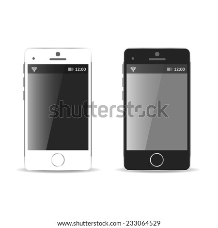 Modern black and white touchscreen cellphone tablet smartphones isolated on light background - stock vector
