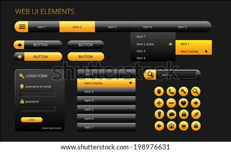 modern black and yellow web ui elements, vector illustration, eps 10 with transparency - stock vector