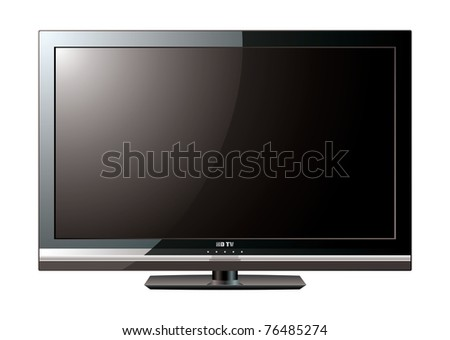 Modern black flat screen lcd television monitor with light reflection - stock vector
