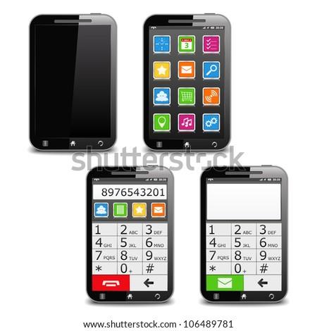 Modern Black Mobile Phone, vector eps10 illustration - stock vector