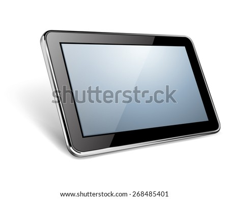 Modern black tablet pc, vector illustration. - stock vector