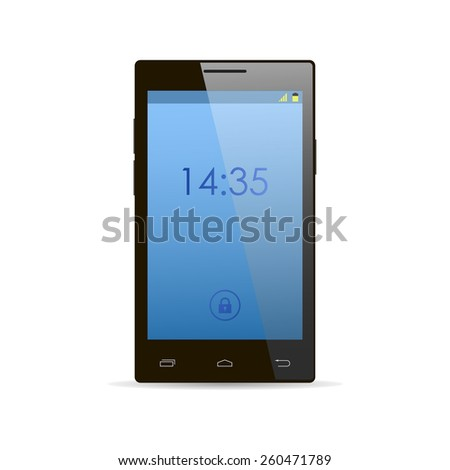 Modern black touchscreen cellphone smartphone  - stock vector