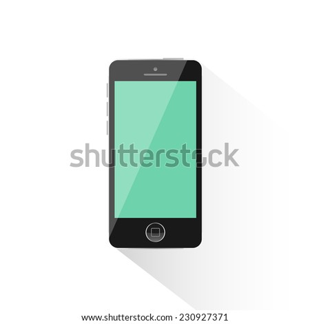Modern black touchscreen cellphone tablet smartphone isolated on light background with long shadow - stock vector