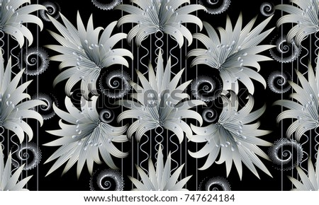 Modern black white floral striped seamless stock vector 747624184 modern black white floral striped seamless pattern 3d wallpaper black flourish background with white mightylinksfo