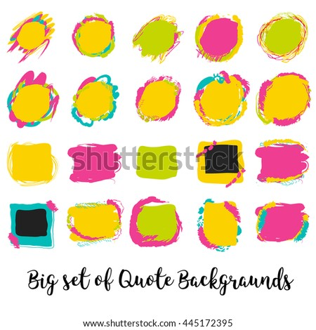 Modern block quote design elements. Creative text and design template with photo frames. - stock vector