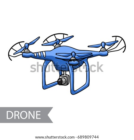 Modern Blue Air Drone Remote Control Stock Vector 689809744