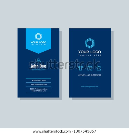 Modern blue business card template vertical stock vector 1007543857 modern blue business card template in vertical design abstract background personal plain design with accmission Images