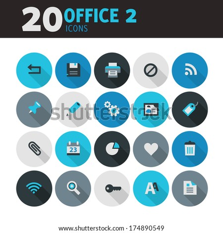 Modern blue flat design office icons, set 2, with long shadow - stock vector