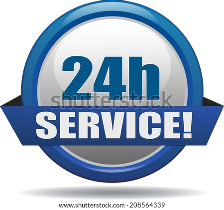 modern blue service button - stock vector