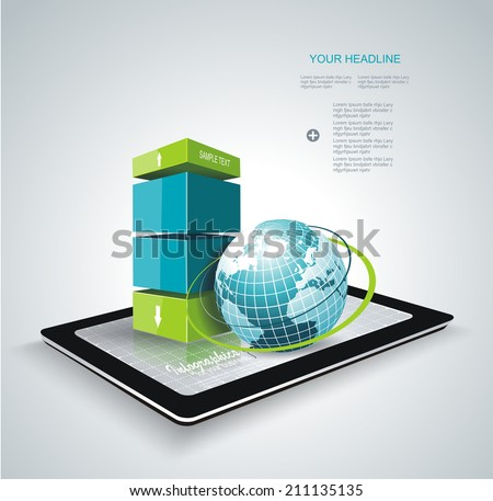 Modern box Design Minimal style infographic template with Globe. Can be used for diagram, numbered banners, percent columns.  - stock vector