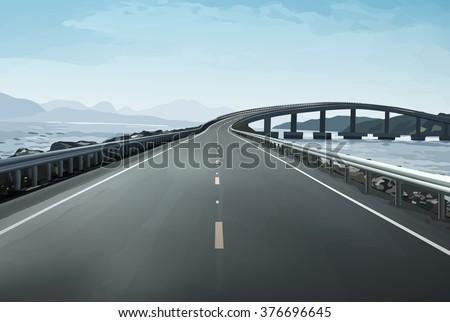 Modern bridge over islands in Norway - stock vector