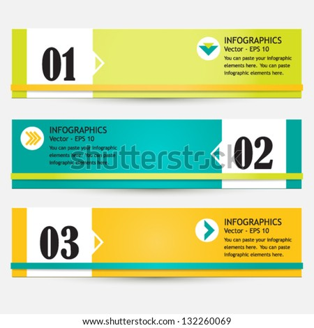 Modern bright infographic set of three colorful abstract banners - stock vector