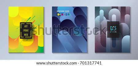 Modern brochure covers set, futuristic geometric design. Abstract dynamic colored spots background. Vector template minimalist business concept poster, pop art flyer, hipster style wallpaper Art print
