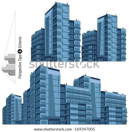 Modern building in vector. 2-points perspective view. All the elements are in the separate layers. Series of the cartoon buildings.  - stock vector